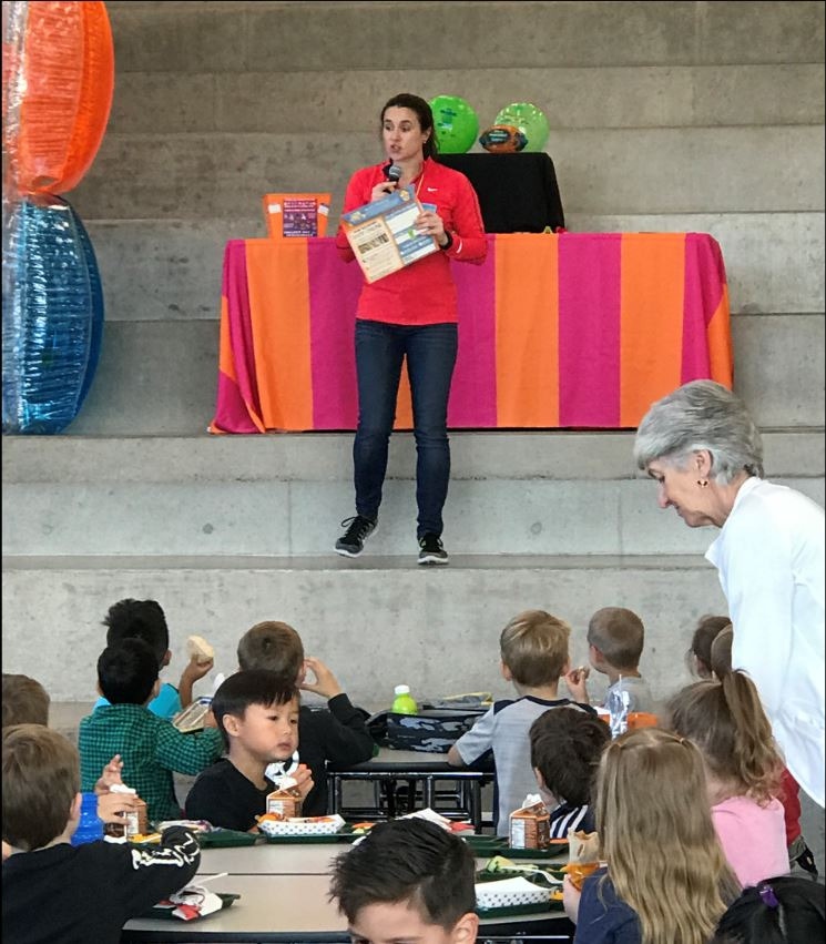 Kindergarteners learn about the Big Kahuna Fundraiser at lunch yesterday